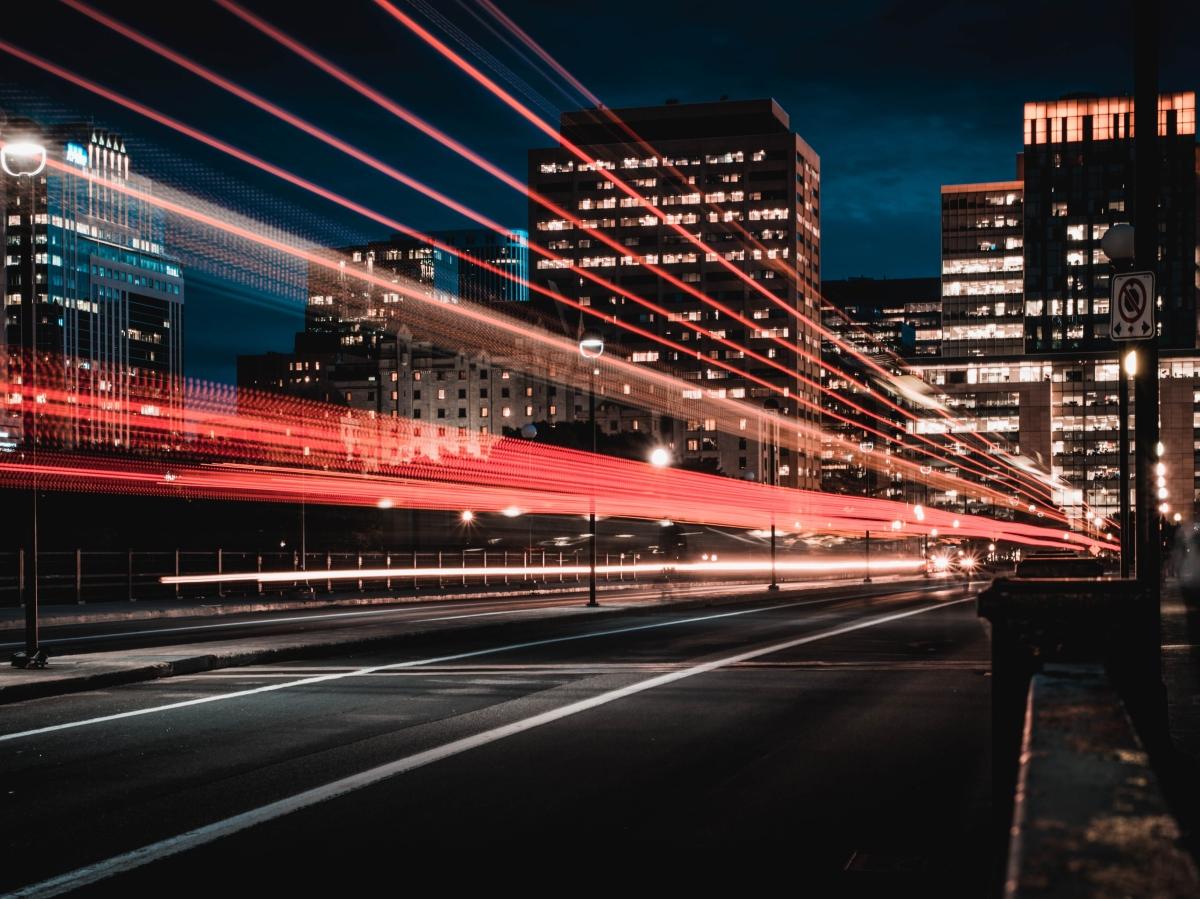 Lights in city landscape